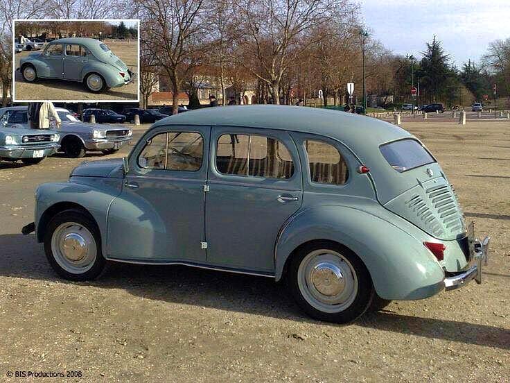 Original und Fälschung. Bildquelle Facebook/Internet. Ein Renault 4 CV als 'Kombi'