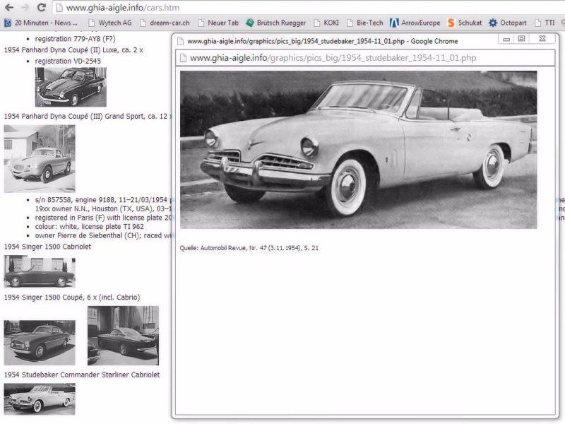 1954 Studebaker Commander Starliner Cabrio Ghia Aigle