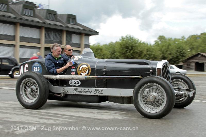 Robi Hümbeli als Co-Pilot im Studebaker Indy Racer No 46