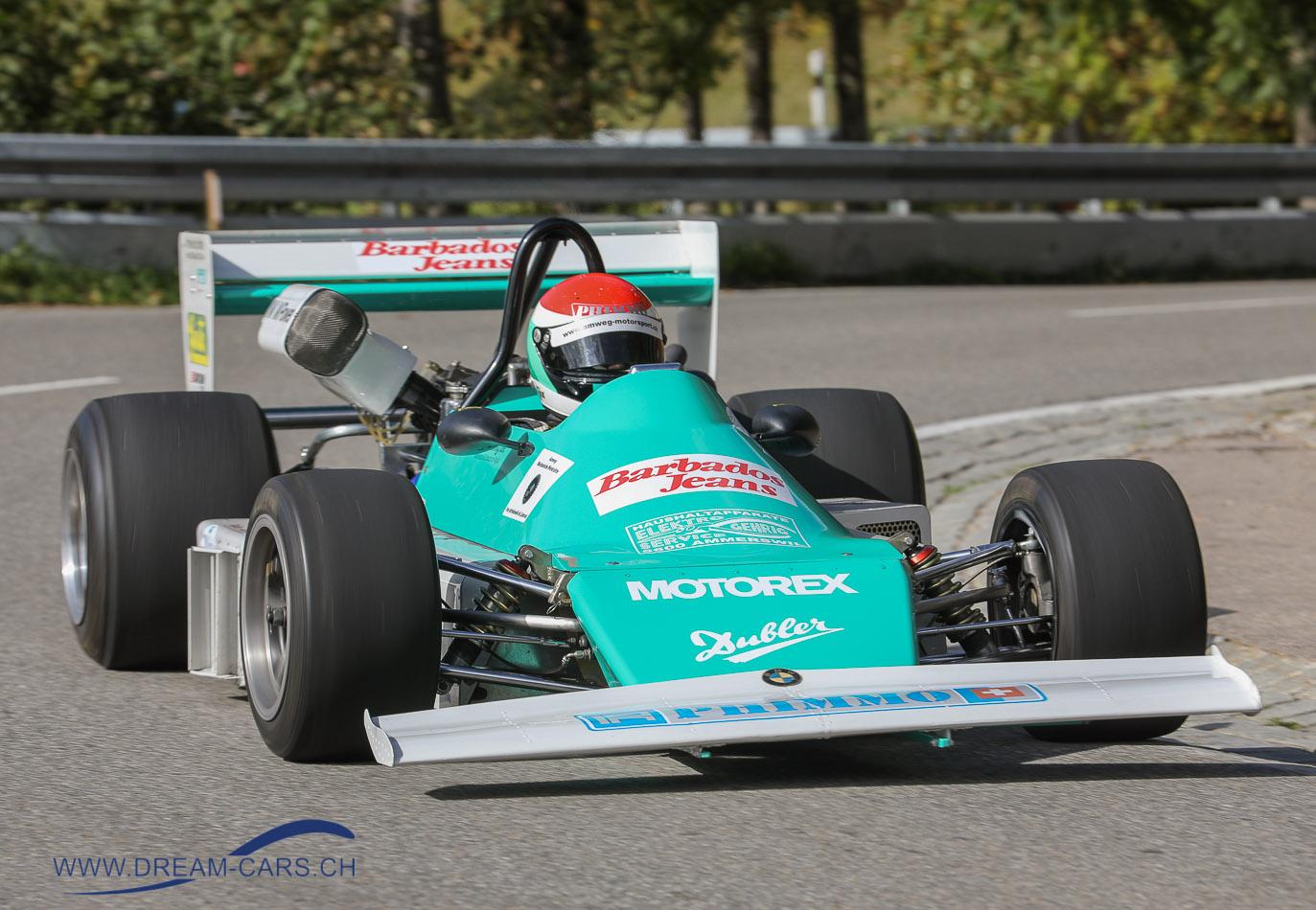 Jochpass Memorial Bad Hindelang 2018, 05. bis 07. Oktober. Fredy Amweg baute zusammen mit seinem Vater 1976 diesen Eigenbau, den Amweg-BMW AW 76 Formel 2, mit dem er unzählige Rennen gewann.