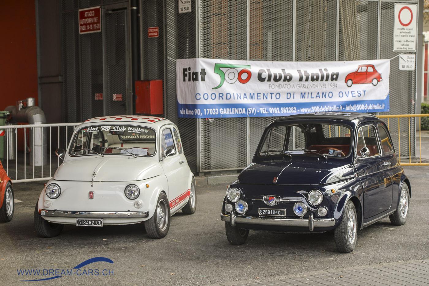 Milano AutoClassica, 23. - 25. November 2018. Etwa 30 Fiat 500 besuchten die Milano AutoClassica am Sonntagnachmittag.