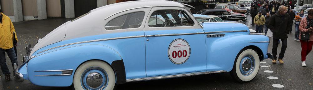 OTM Oldtimer und Teilemarkt St. Gallen 2018. Ein Buick Eight Special Coupé von 1941 in auffälligen Farben