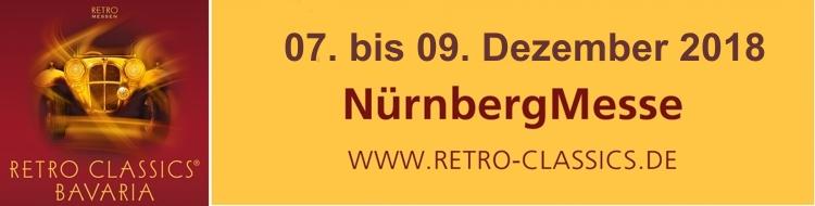 Vom 7. bis 9. Dezember 2018 geht in Nürnberg die 3. RETRO CLASSICS BAVARIA über die Bühne. Wir werden auch wieder dort sein. Hier unser Bericht vom letzten Jahr