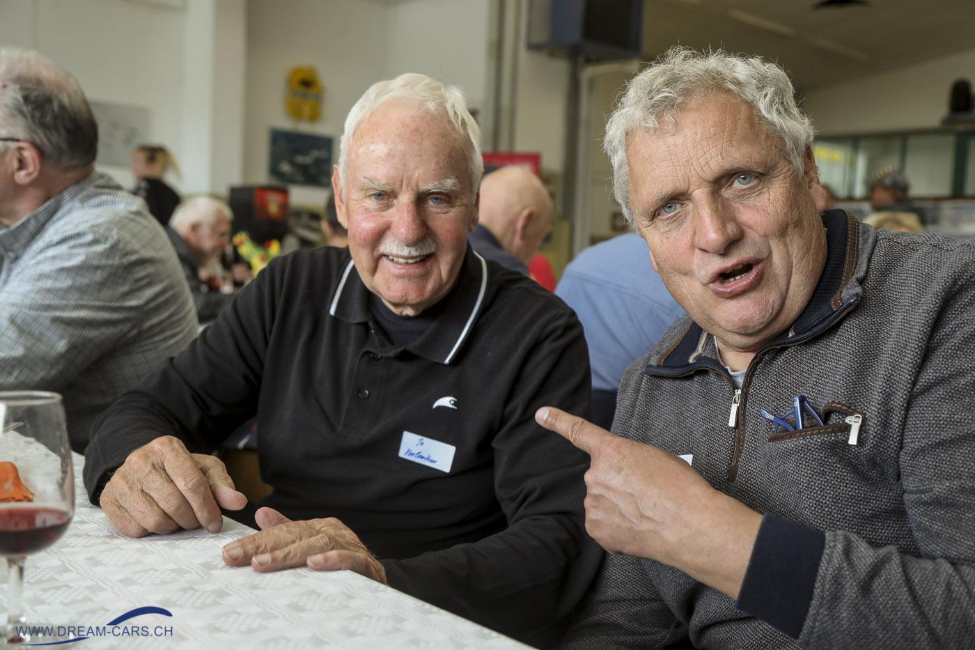Rennfahrertreffen Bleienbach, 6. April 2019. Jo Vonlanthen links mit dem Organisator und Betreiber des Restaurant Flügerli in Bleienbach, Peter Dätwyler