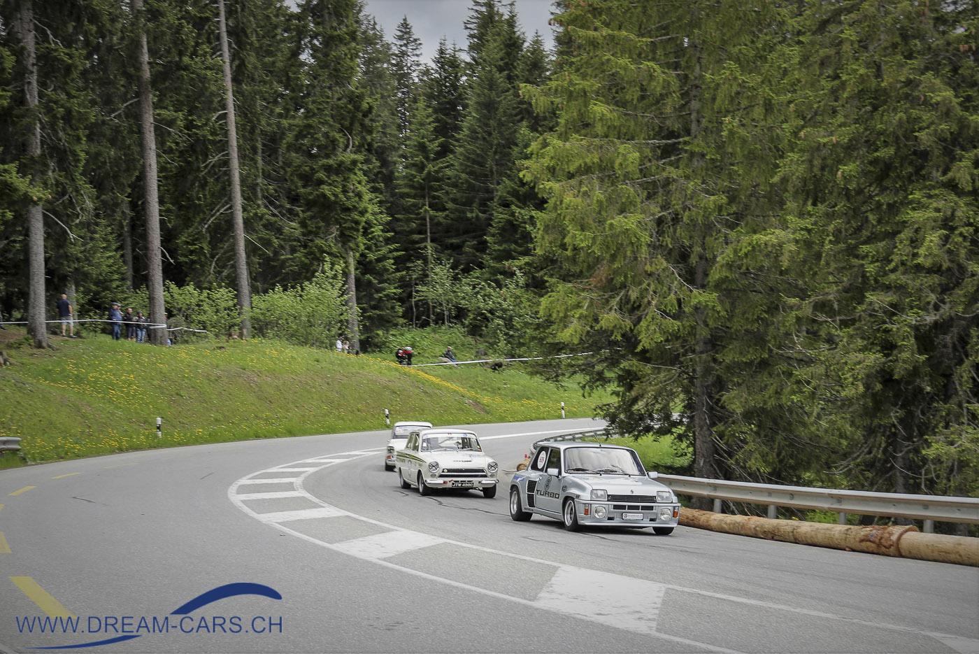 Lenzerheide Motor Classics, 14. bis 16. Juni 2019, Anfahrt zur Kurve bei der Rothornbahn