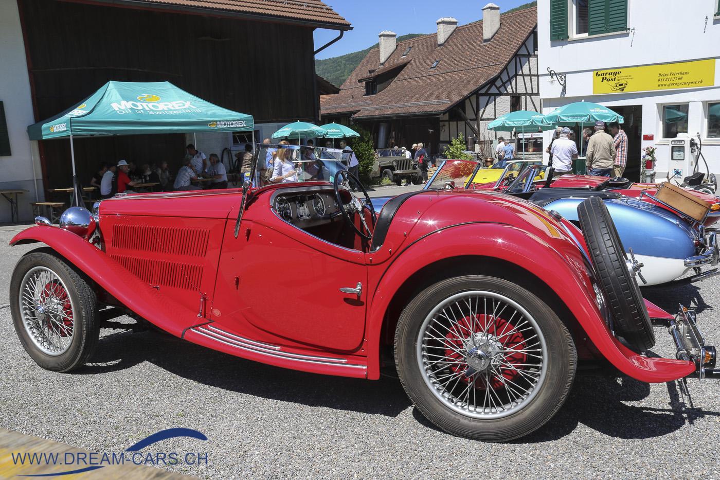Oldtimertreffen in Boppelsen, 2. Juni 2019. Ein MG TD mit einer Karosserie von Hänni, Zürich