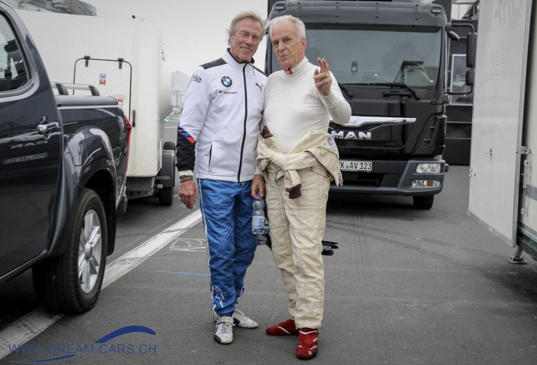 AvD Oldtimer Grand Prix auf dem Nürburgring, 9. - 11. August 2019. Prinz Leopold von Bayern (links) mit dem Schweizer Jürg Dürig, der mit seinem BMW 635 Gruppe 2 startete.