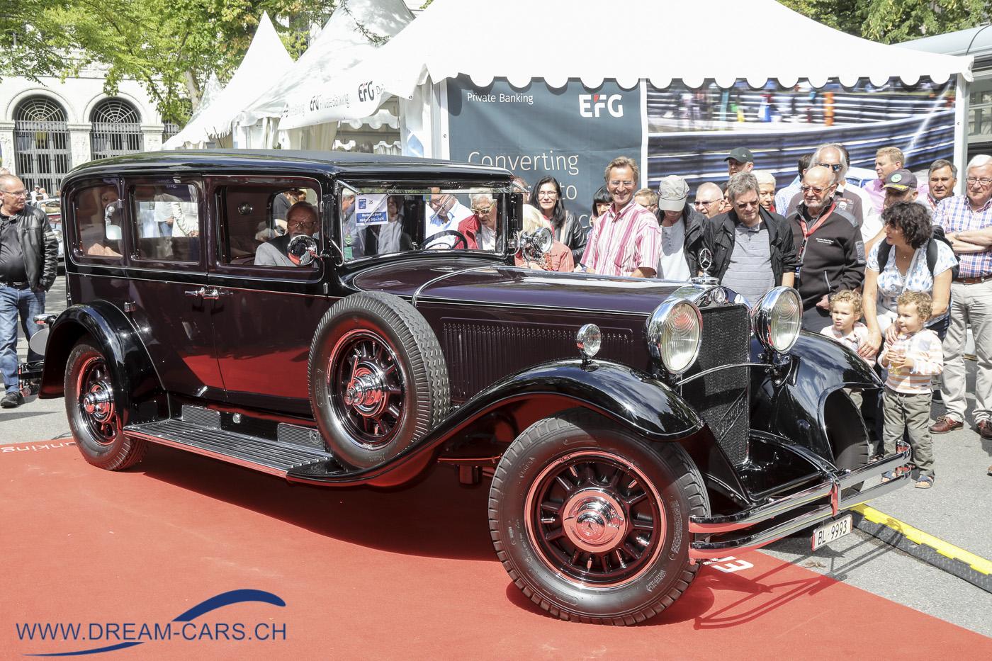 ZCCA, Zurich Classic Car Award auf dem Bürkliplatz in Zürich, 21. August 2019. Sicher das grösste Auto auf dem Bürkliplatz, der Mercedes-Benz Nürburg 500