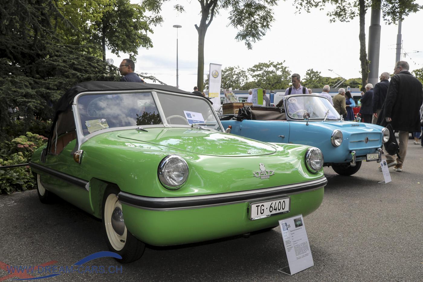 ZCCA, Zurich Classic Car Award auf dem Bürkliplatz in Zürich, 21. August 2019. Ein dreiplätziger Victoria Spatz 200, gebaut bei den Bayerischen Autowerken. Die Konstruktion stammt von Egon Brütsch