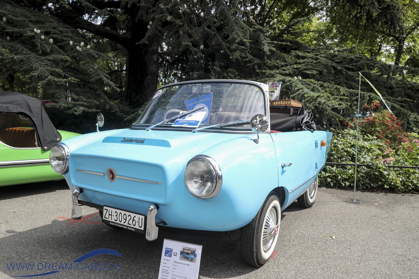 ZCCA, Zurich Classic Car Award auf dem Bürkliplatz in Zürich, 21. August 2019. Ein Meadows Frisky Sport von 1958