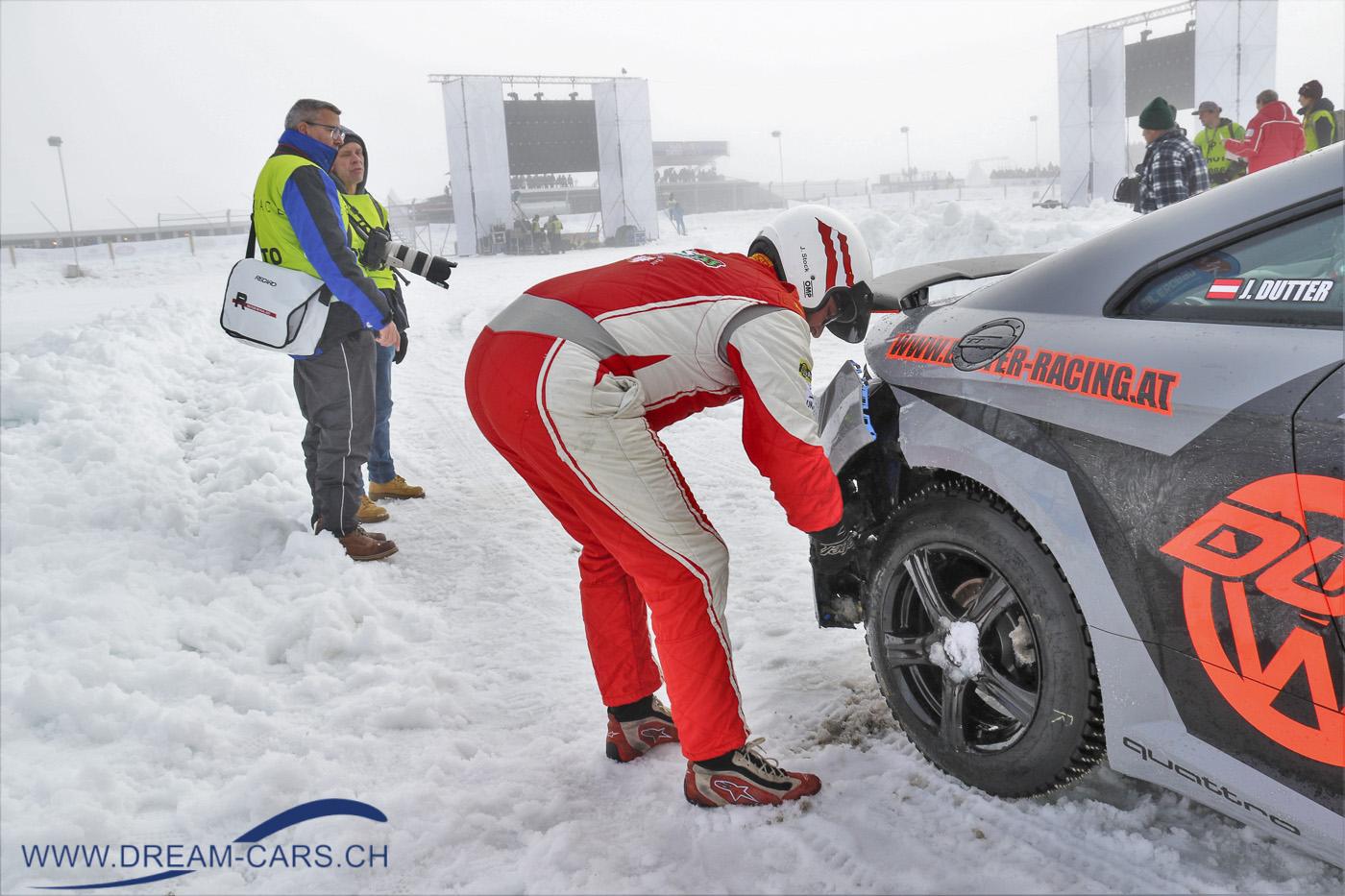 GP Ice Race, Zell am See, 1. und 2. Februar 2020. Der Audi TT hat das 2. GP Ice Race nicht unbeschadet überstanden.