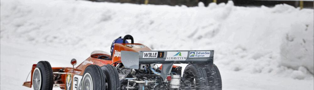 GP Ice Race, Zell am See, 1. und 2. Februar 2020. Der March Formel 1 von 1974, gefahren von Hans-Joachim Stuck