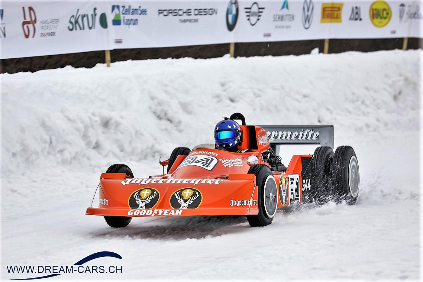 GP Ice Race, Zell am See, 1. und 2. Februar 2020. Hans-Joachim Stuck mit dem March F1 von 1974 bei seiner Fahrt auf der Eispiste