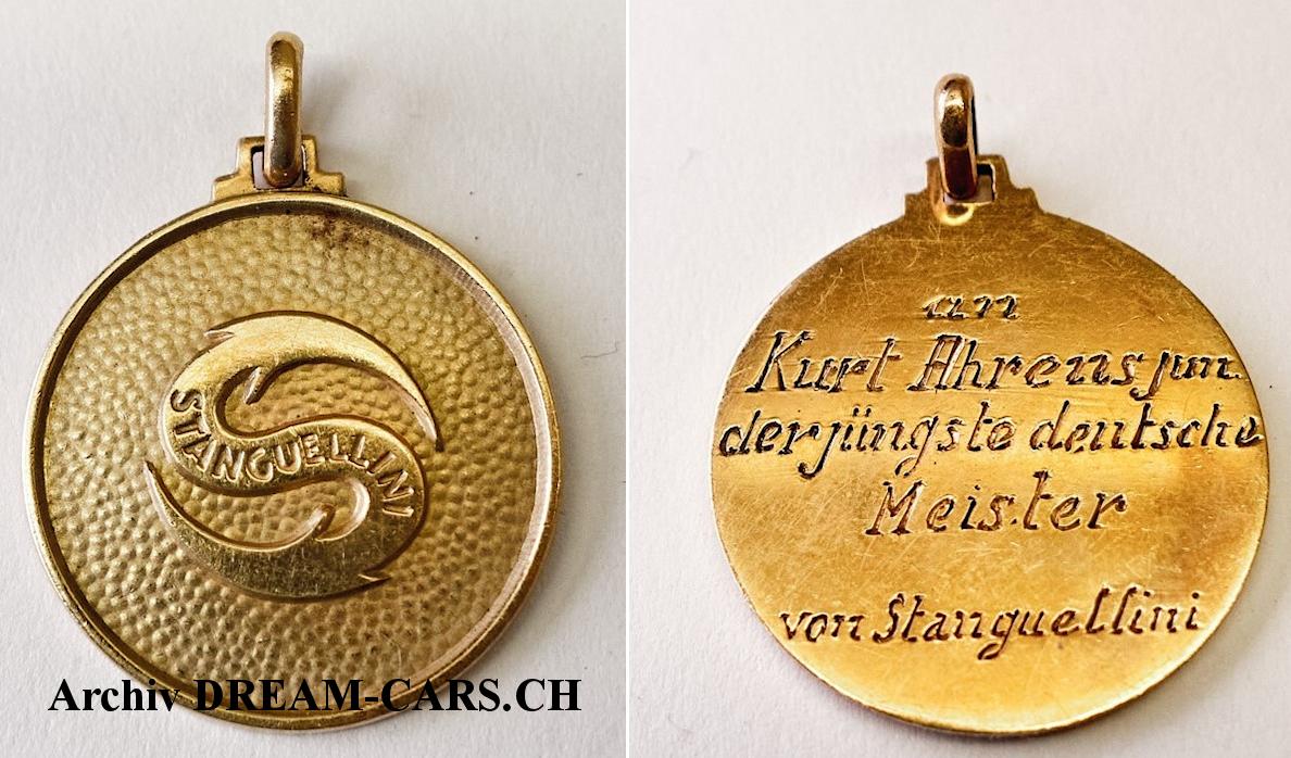 Goldene Medaille mit Widmung von Stanguellini auf der Rückseite. Bild Kurt Ahrens