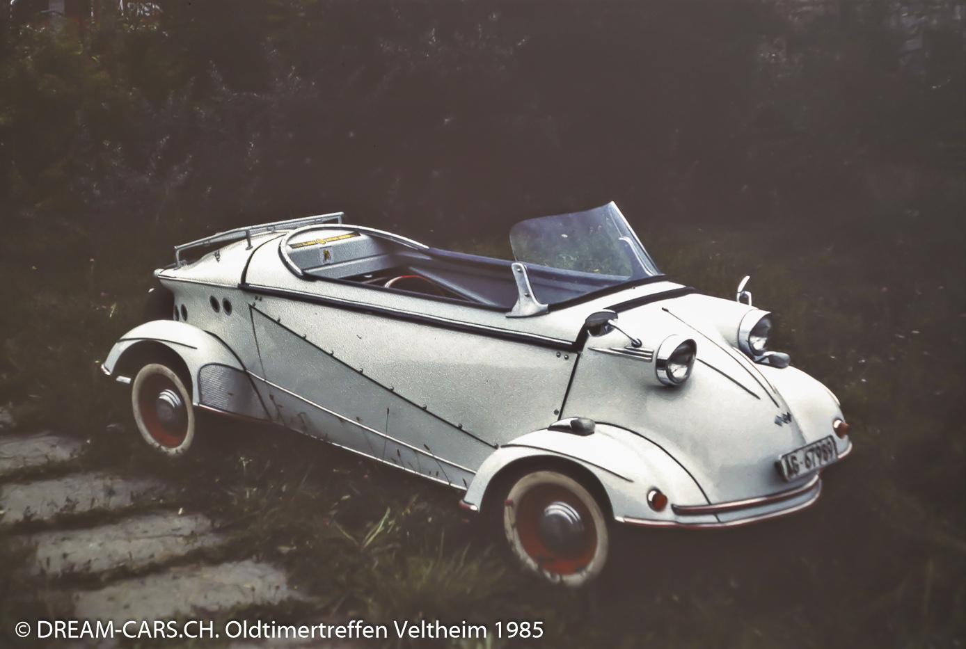 Tag des Autos im Verkehrs-Sicherheits-Zentrum Veltheim, 8. September 1985. Ein Messerschmitt Tg 500