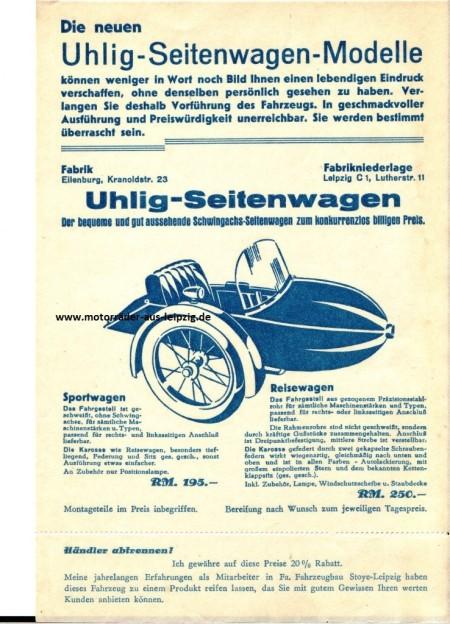 Uhlig Seitenwagenmodelle