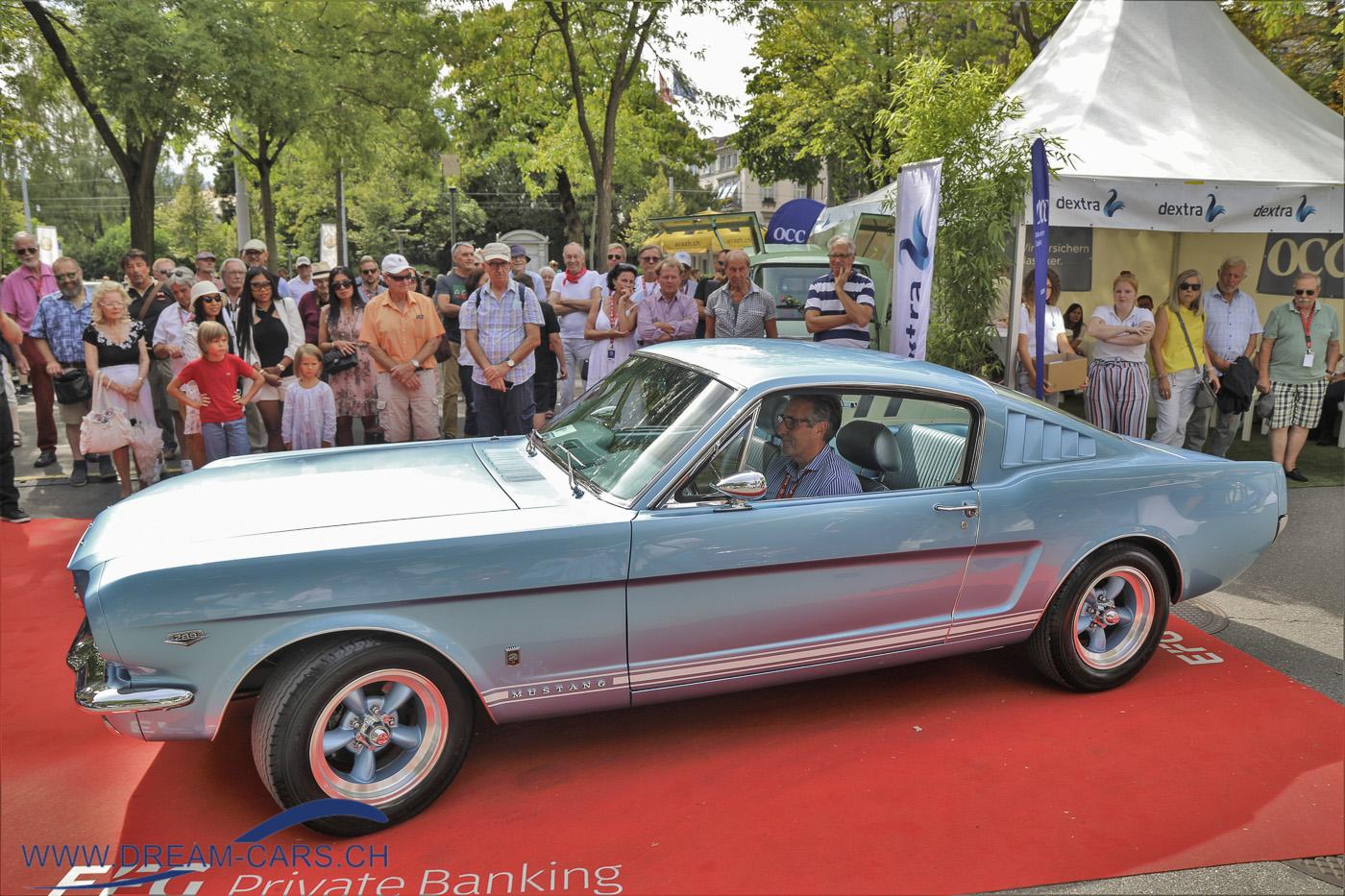ZCCA - Zurich Classic Car Award, Bürkliplatz Zürich, 19. August 2020. Der Ford Mustang von 1964 ist ein richtiger Dream-Car.