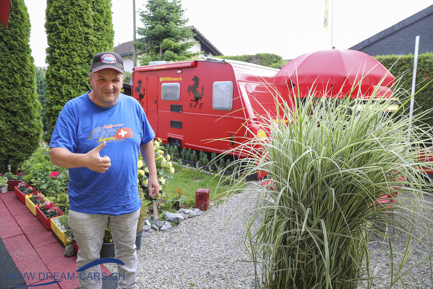 Joe's Ferrarihome Oberbüren, Besuch vom 22.06.2021. Elio Crestani im 'Ferrari-Garten'
