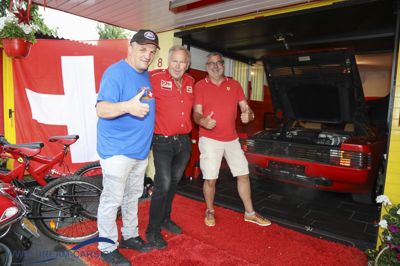 Joe's Ferrarihome Oberbüren, Besuch vom 22.06.2021. Von links Elio Crestani, Joe Kaiser, Fredi Vollenweider