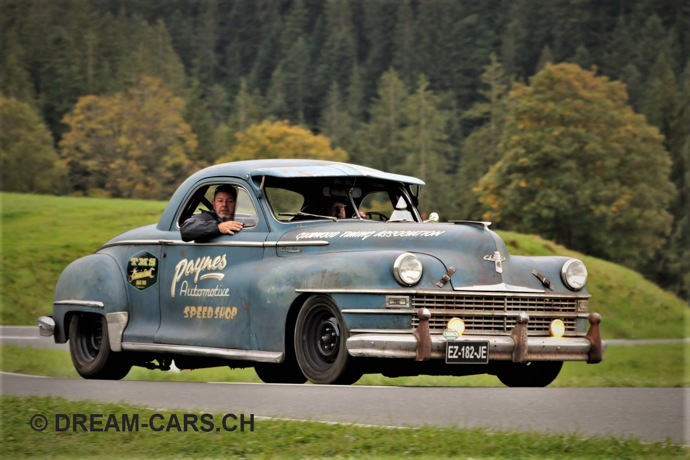 Mit diesem coolen Chrysler war die Rennleitung unterwegs.