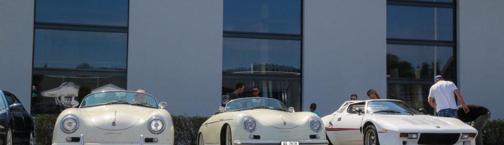 ACE CAFE Luzern, Sportwagentreffen, 14.07.2018. Auch einige Oldtimer-Sportwagen kamen ins ACE, wie diese beiden Porsche 356 und der Lancia Strato