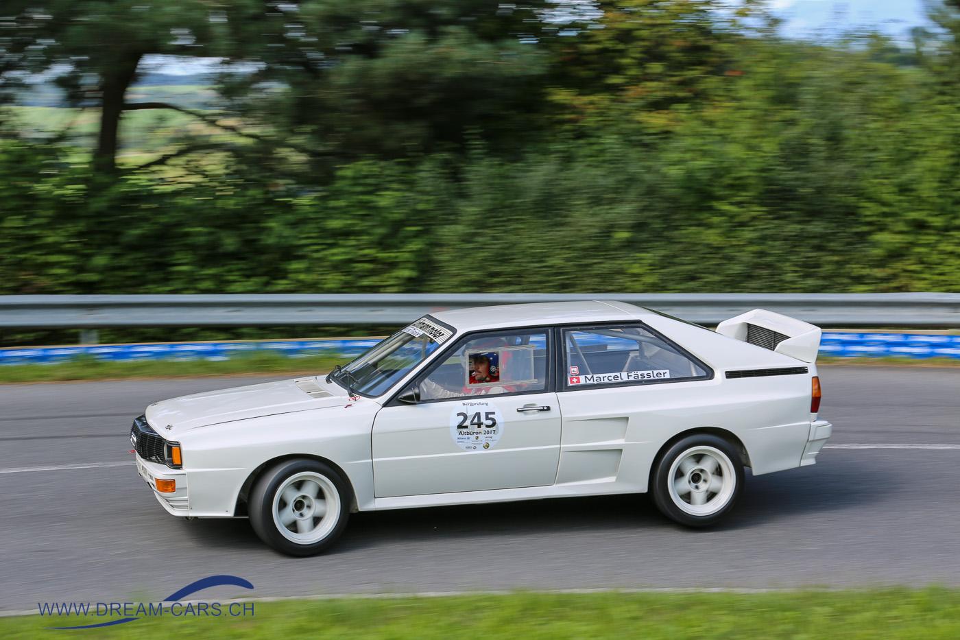 Bergprüfung Altbüron 2017 Marcel Fässler im Audi Quattro von 1983