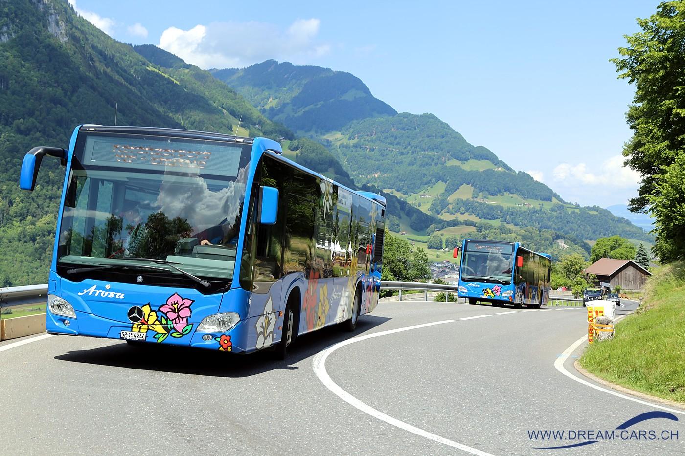 Arosa-Busse am Kerenzerberg Rennen