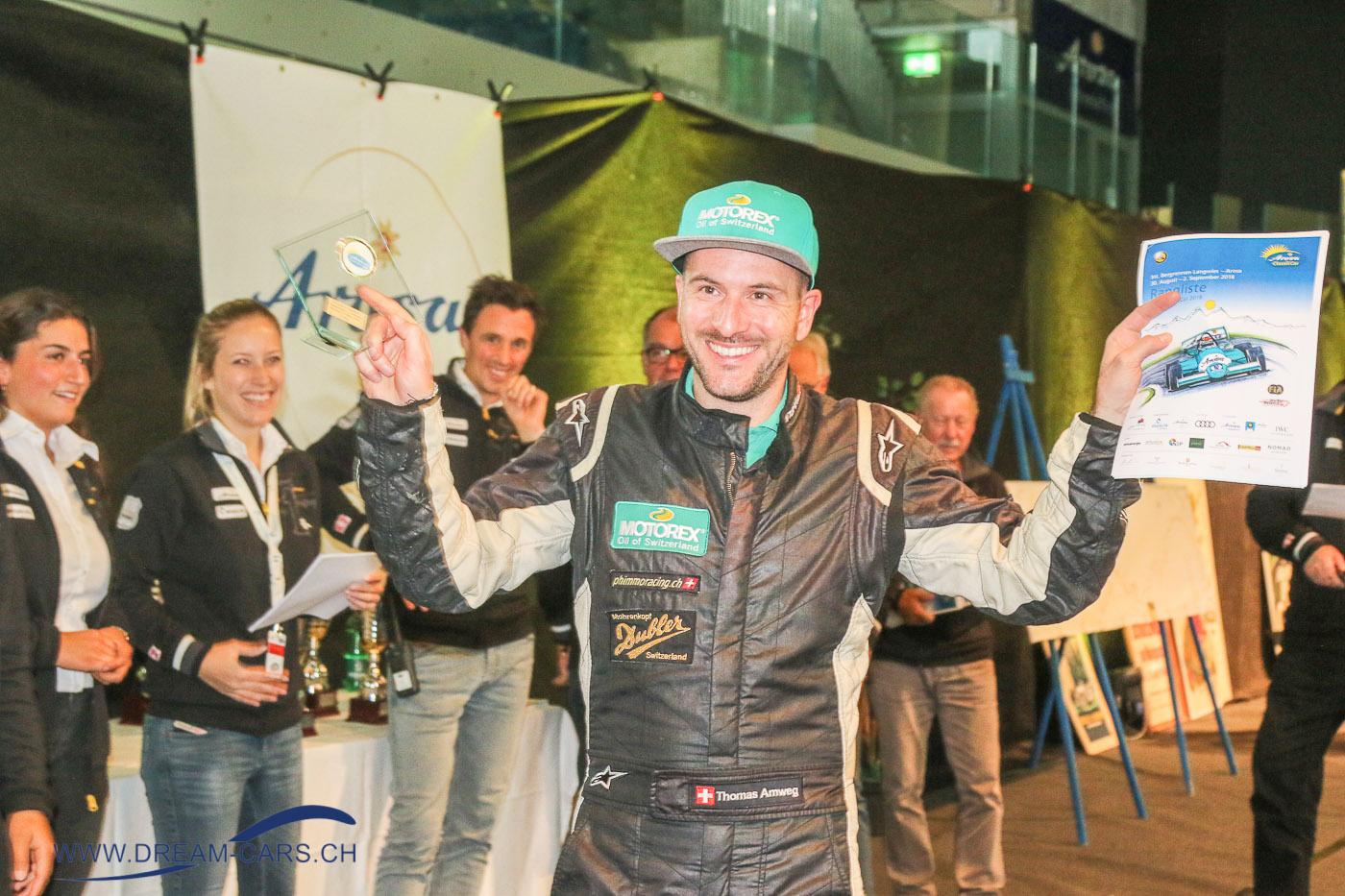 Arosa ClassicCar 2018. Der strahlende Sieger Thomas Amweg, seit 2016 ungeschlagen an der Arosa ClassicCar. Gratulation Thomas.