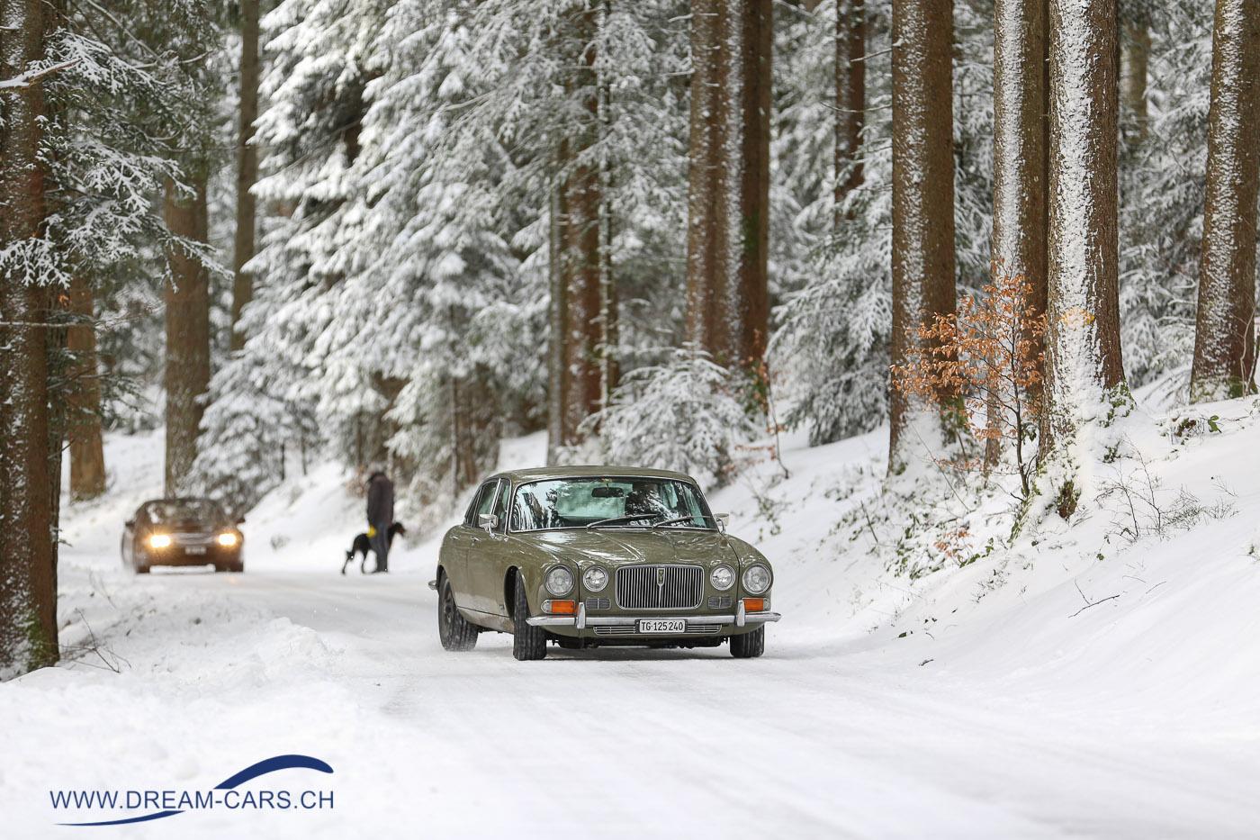 Auf Schnee und Eis, 20. Januar 2018. Jaguar XJ auf dem Gottschalkenberg