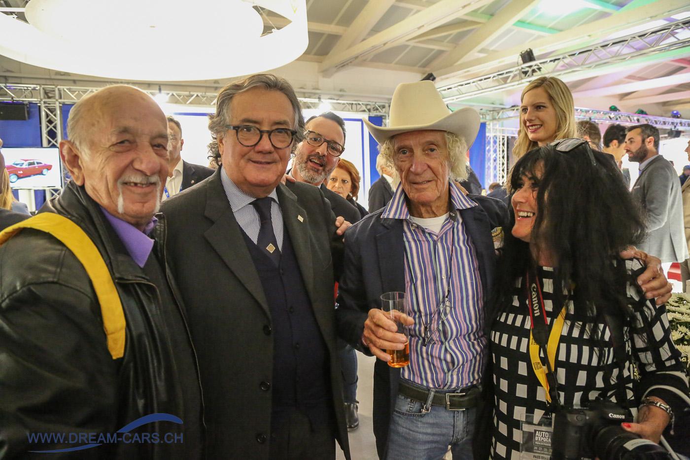 Auto Moto d'Epoca Padua 2017. Von links: Ermanno Cuoghi, Giancarlo Minardi, Arturio Merzario und Ela Lehmann