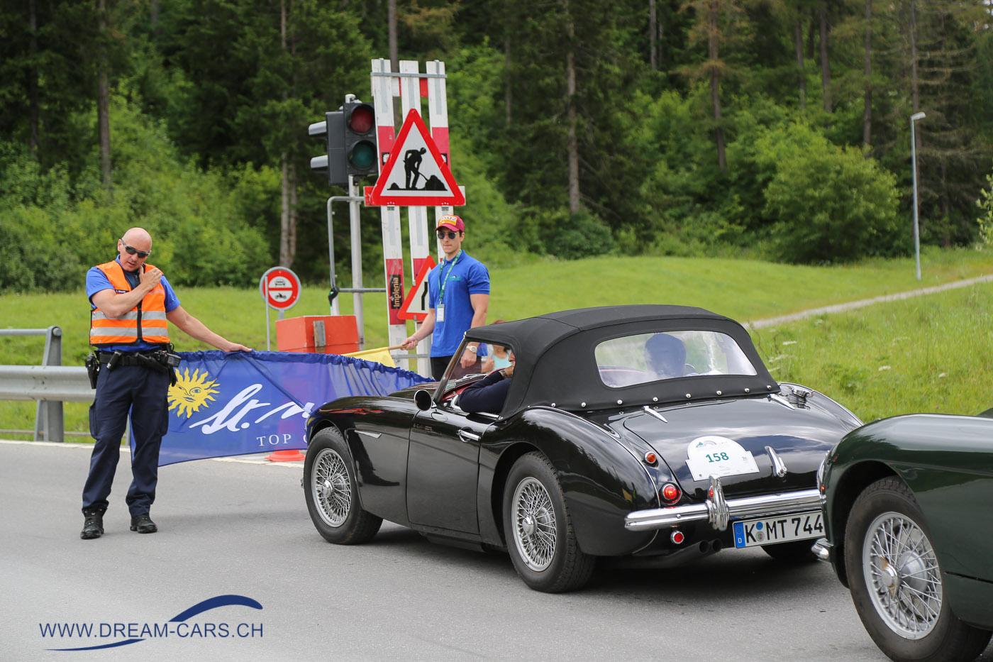 BCCM - British Classic Car Meeting St. Moritz, 5. bis 8. Juli 2018. Start zur Horseshoe Challenge von Celerina nach St. Moritz