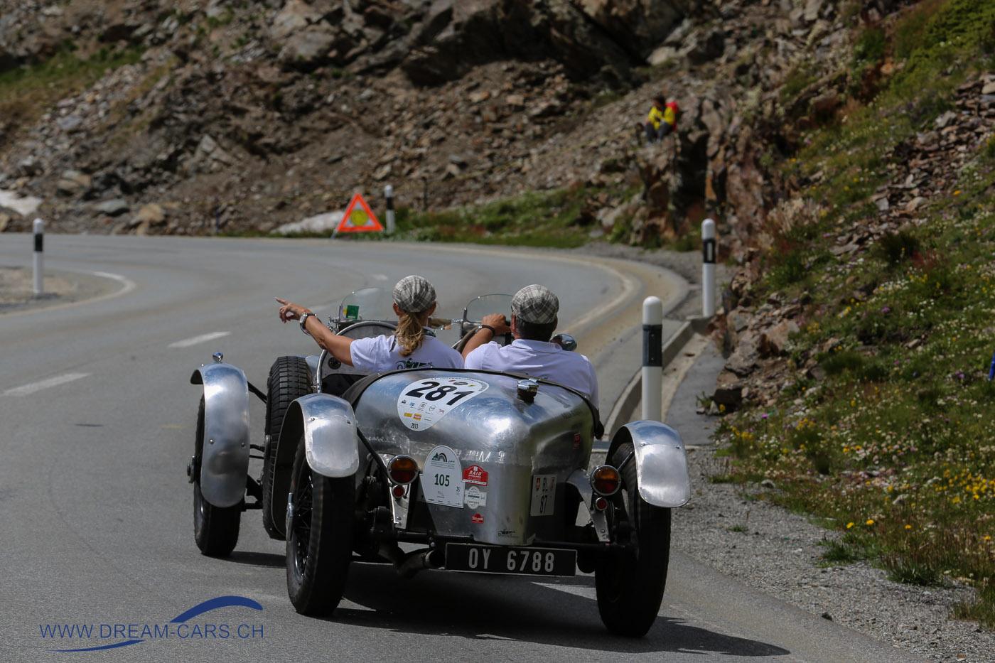 BCCM - British Classic Car Meeting St. Moritz, 5. bis 8. Juli 2018. Nic Werder auf der Suche nach einem Parkplatz kurz vor der Bernina-Passhöhe
