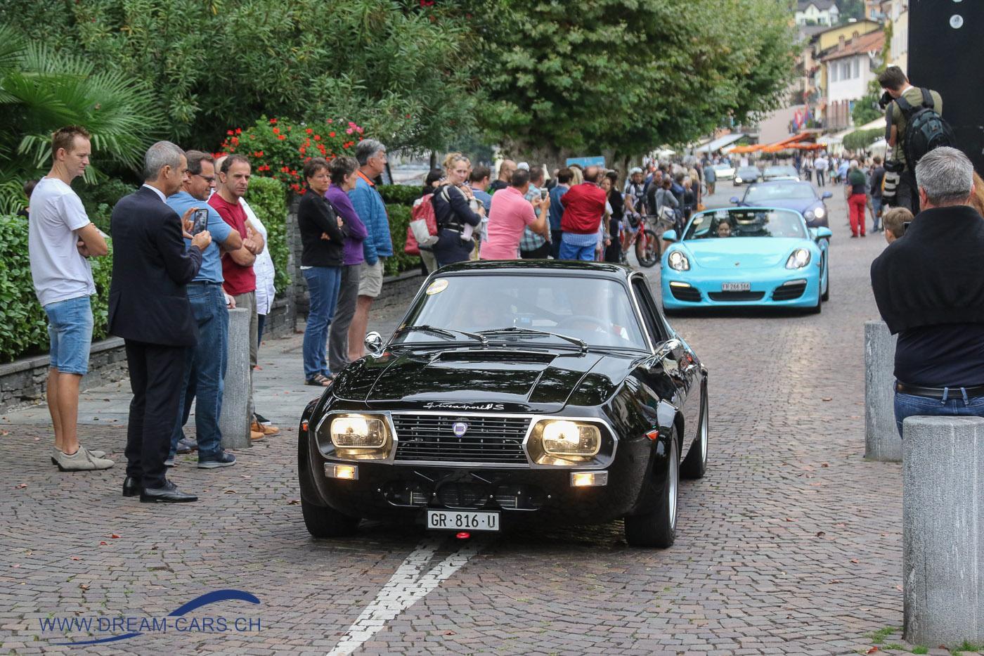 Euro Sportcars Day Ascona, 16.09.2018. Hans Orsatti mit seinem Lancia Fulvia Zagato startet zur Ausfahrt