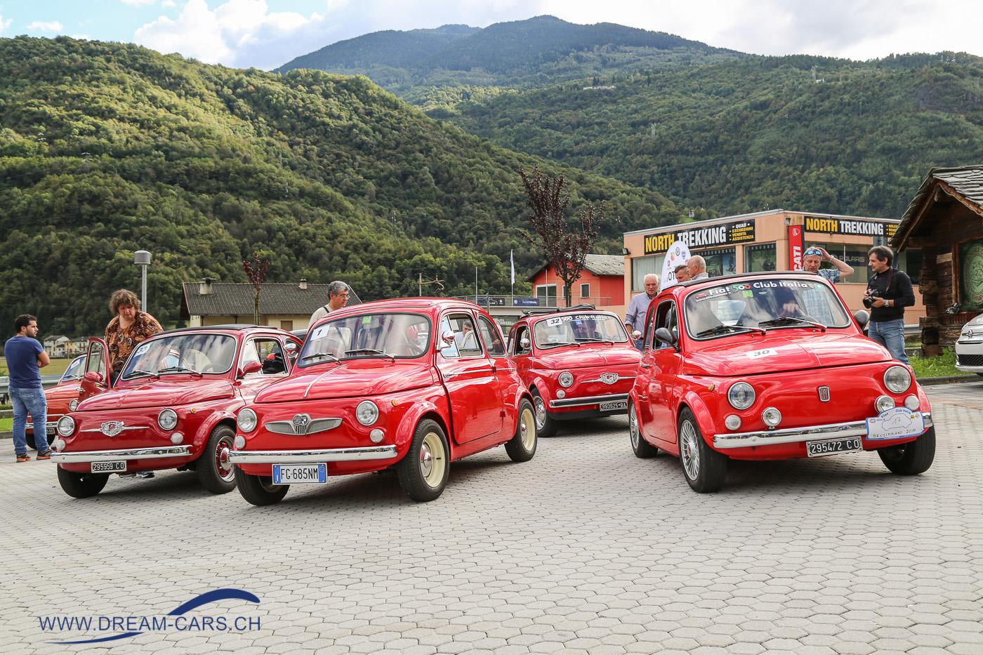 Fiat 500 Treffen, Chiuro, Italien, 24. September 2017. Das Cincent in Costa fand bereits zum 6. Mal statt