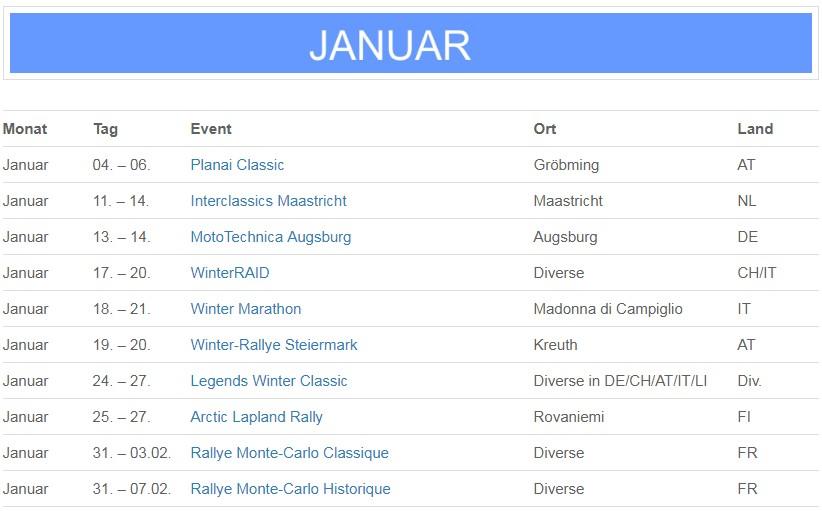 Oldtimer Kalender 2018