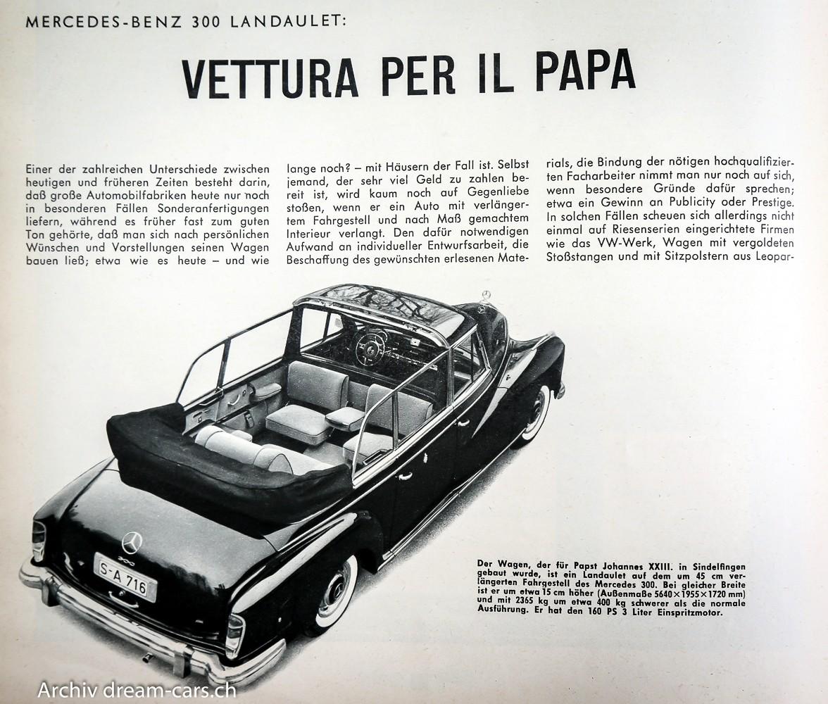 Mercedes 300 Landaulet für Papst Johannes XXIII