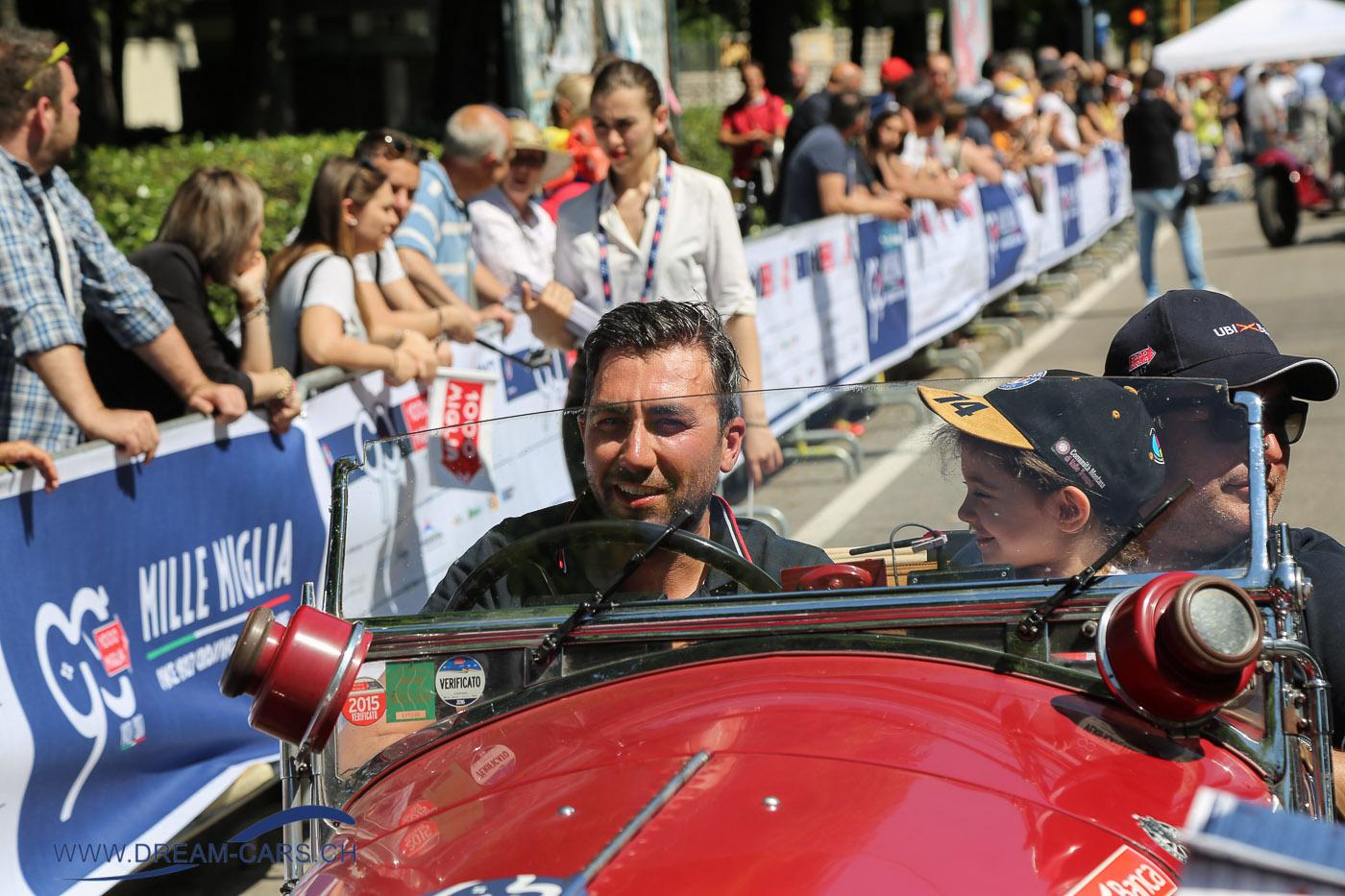 Mille Miglia 2017, 4. Tag, Etappe Parma - Brescia. Das Siegerteam Andrea Vesco und Andrea Guerini auf Alfa Romeo 6C 1750 Gran Sport von 1931