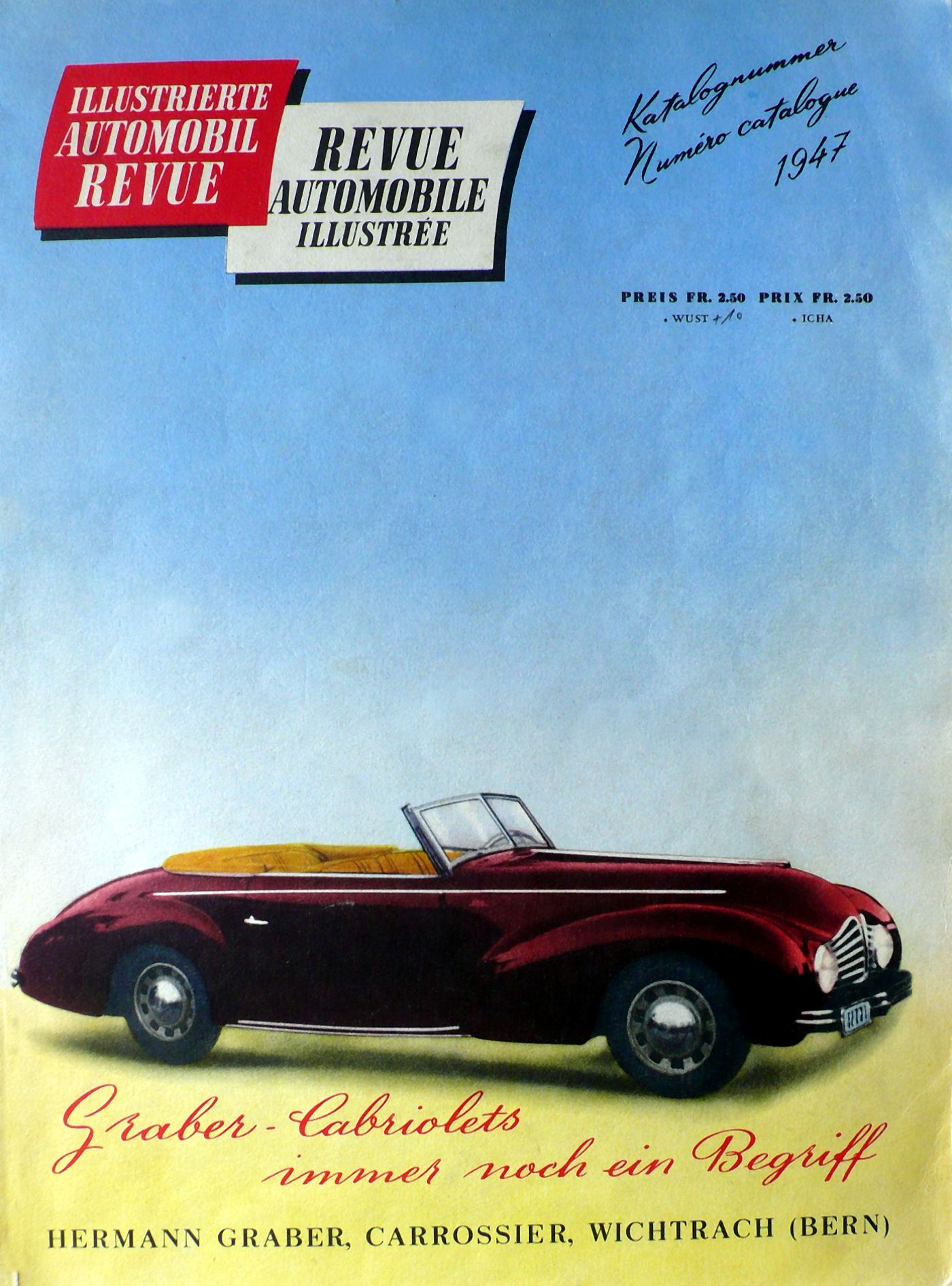 Der Peugeot 402 Graber auf dem Titelbild des Automobil Revue Katalogs 1947