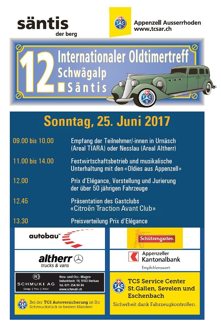 Programm Oldtimertreff Schwägalp 2017
