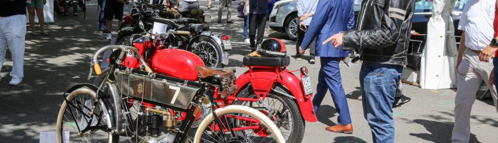 ZCCA - Zürich Classic Car Award, 22. August 2018. Erstmals wurden am ZCCA auch Motorräder präsentiert. Vorne unsere Peugeot-Rennmaschine aus dem Jahr 1909
