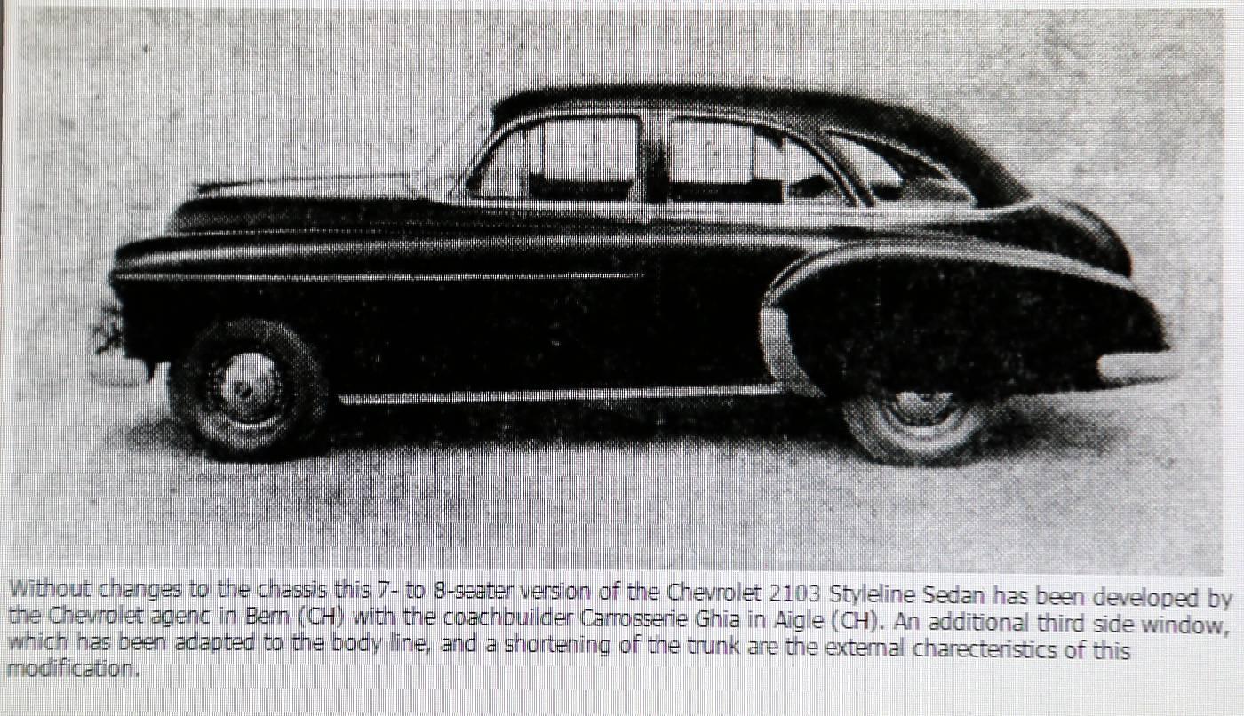 Chevrolet Styleline 2103 Sedan 1959, Montage Suisse, umgebaut von Ghia-Aigle. Das Bild erschien am 31.05.1950 in der Automobil Revue