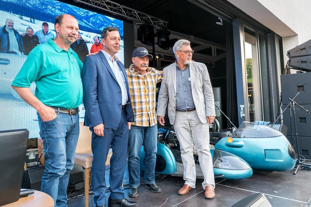 """Talkrunde """"Nagel im Kopf oder doppelter Spaß?"""" mit (von links nach rechts) Ralph Bohnhorst, Andy Schwietzer, Ady Hänni und Dr. Günther Diener"""