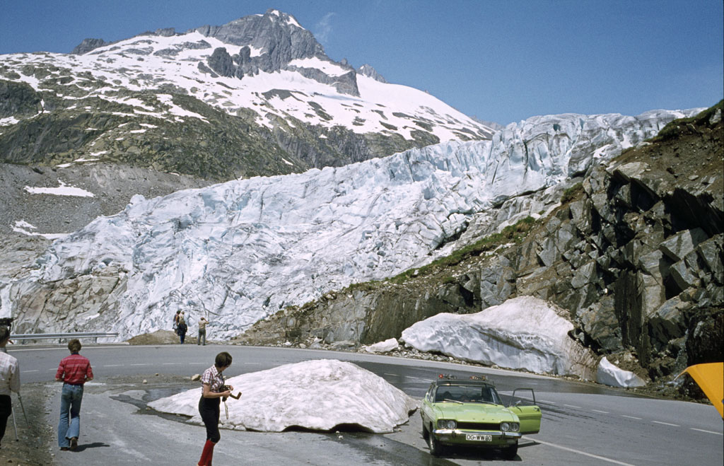 Rhone-Gletscher, aufgenommen unterhalb des Hotels Belvédère im Sommer 1979